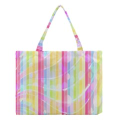 Abstract Stipes Colorful Background Circles And Waves Wallpaper Medium Tote Bag