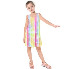 Abstract Stipes Colorful Background Circles And Waves Wallpaper Kids  Sleeveless Dress