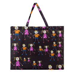 Kids Tile A Fun Cartoon Happy Kids Tiling Pattern Zipper Large Tote Bag