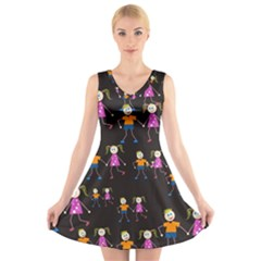 Kids Tile A Fun Cartoon Happy Kids Tiling Pattern V Neck Sleeveless Skater Dress