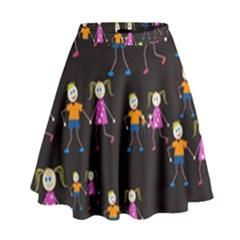 Kids Tile A Fun Cartoon Happy Kids Tiling Pattern High Waist Skirt