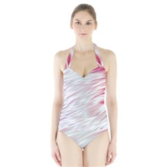 Fluorescent Flames Background With Special Light Effects Halter Swimsuit