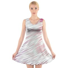 Fluorescent Flames Background With Special Light Effects V Neck Sleeveless Skater Dress