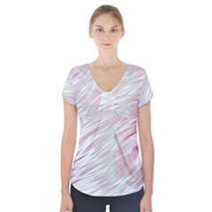 Fluorescent Flames Background With Special Light Effects Short Sleeve Front Detail Top