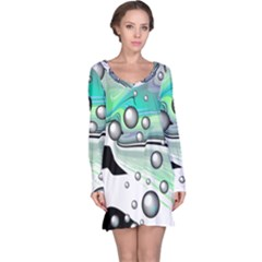 Small And Big Bubbles Long Sleeve Nightdress