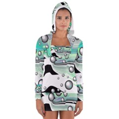 Small And Big Bubbles Women s Long Sleeve Hooded T-shirt