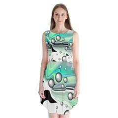 Small And Big Bubbles Sleeveless Chiffon Dress