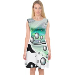 Small And Big Bubbles Capsleeve Midi Dress