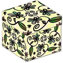 Completely Seamless Tileable Doodle Flower Art Storage Stool 12