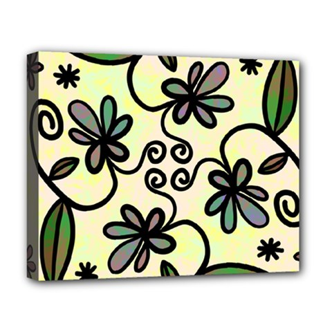 Completely Seamless Tileable Doodle Flower Art Deluxe Canvas 20  x 16