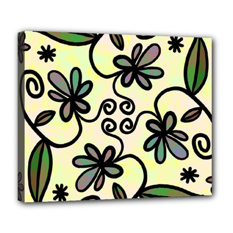 Completely Seamless Tileable Doodle Flower Art Deluxe Canvas 24  x 20