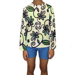 Completely Seamless Tileable Doodle Flower Art Kids  Long Sleeve Swimwear