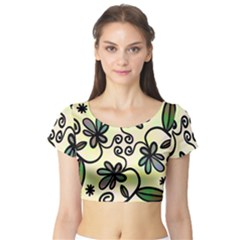 Completely Seamless Tileable Doodle Flower Art Short Sleeve Crop Top (tight Fit)