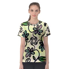Completely Seamless Tileable Doodle Flower Art Women s Sport Mesh Tee