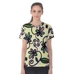 Completely Seamless Tileable Doodle Flower Art Women s Cotton Tee