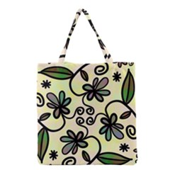 Completely Seamless Tileable Doodle Flower Art Grocery Tote Bag