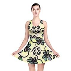 Completely Seamless Tileable Doodle Flower Art Reversible Skater Dress