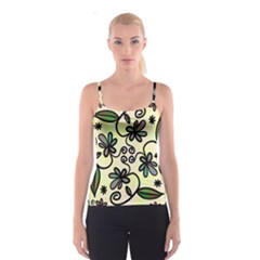 Completely Seamless Tileable Doodle Flower Art Spaghetti Strap Top