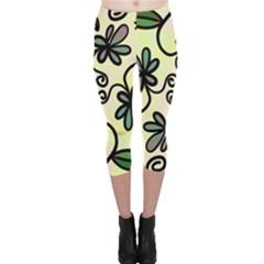 Completely Seamless Tileable Doodle Flower Art Capri Leggings