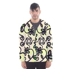 Completely Seamless Tileable Doodle Flower Art Hooded Wind Breaker (Men)