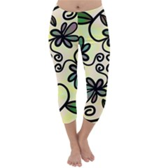 Completely Seamless Tileable Doodle Flower Art Capri Winter Leggings