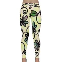 Completely Seamless Tileable Doodle Flower Art Classic Yoga Leggings