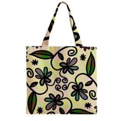 Completely Seamless Tileable Doodle Flower Art Zipper Grocery Tote Bag