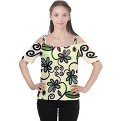 Completely Seamless Tileable Doodle Flower Art Women s Cutout Shoulder Tee