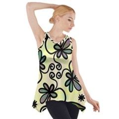Completely Seamless Tileable Doodle Flower Art Side Drop Tank Tunic