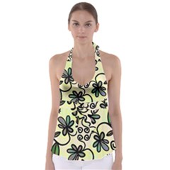 Completely Seamless Tileable Doodle Flower Art Babydoll Tankini Top