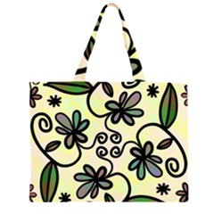 Completely Seamless Tileable Doodle Flower Art Large Tote Bag