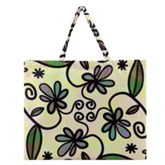 Completely Seamless Tileable Doodle Flower Art Zipper Large Tote Bag