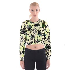 Completely Seamless Tileable Doodle Flower Art Cropped Sweatshirt