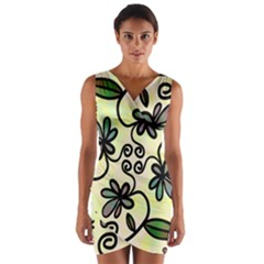 Completely Seamless Tileable Doodle Flower Art Wrap Front Bodycon Dress