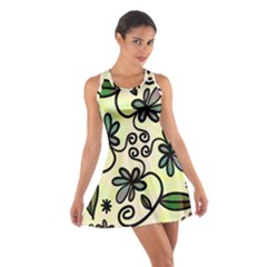 Completely Seamless Tileable Doodle Flower Art Cotton Racerback Dress
