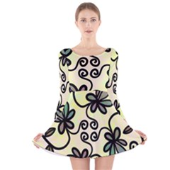 Completely Seamless Tileable Doodle Flower Art Long Sleeve Velvet Skater Dress