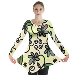 Completely Seamless Tileable Doodle Flower Art Long Sleeve Tunic