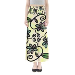Completely Seamless Tileable Doodle Flower Art Maxi Skirts