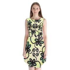 Completely Seamless Tileable Doodle Flower Art Sleeveless Chiffon Dress