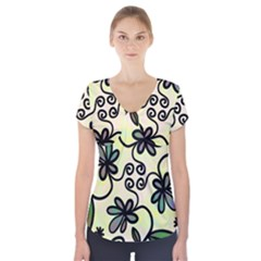 Completely Seamless Tileable Doodle Flower Art Short Sleeve Front Detail Top