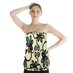 Completely Seamless Tileable Doodle Flower Art Strapless Top