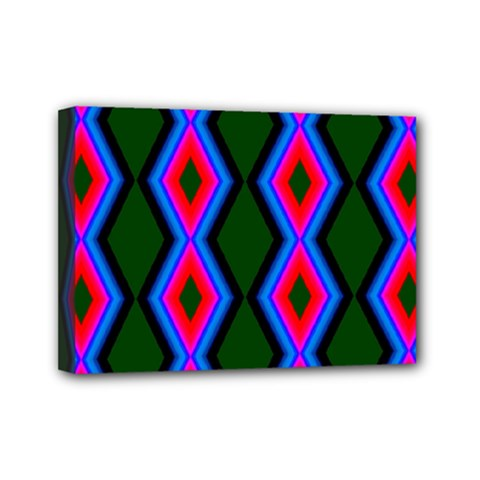 Quadrate Repetition Abstract Pattern Mini Canvas 7  x 5