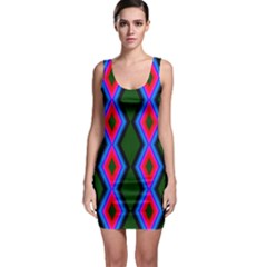 Quadrate Repetition Abstract Pattern Sleeveless Bodycon Dress