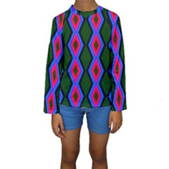 Quadrate Repetition Abstract Pattern Kids  Long Sleeve Swimwear