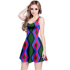 Quadrate Repetition Abstract Pattern Reversible Sleeveless Dress