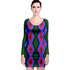 Quadrate Repetition Abstract Pattern Long Sleeve Bodycon Dress