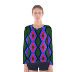 Quadrate Repetition Abstract Pattern Women s Long Sleeve Tee