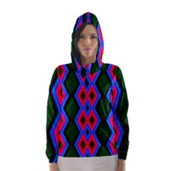 Quadrate Repetition Abstract Pattern Hooded Wind Breaker (women)