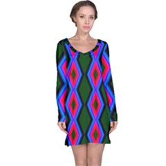 Quadrate Repetition Abstract Pattern Long Sleeve Nightdress