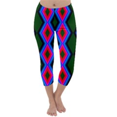 Quadrate Repetition Abstract Pattern Capri Winter Leggings